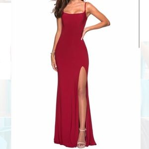 La Femme red gown with train, very sexy sz 2